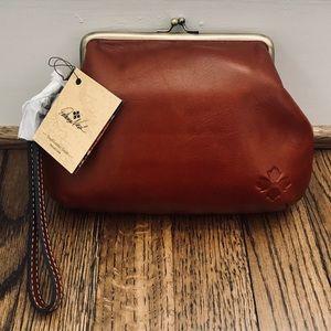Patricia Nash brown leather wristlet bag NWT